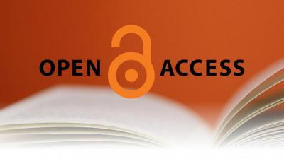 Orange open lock in the middle of the word open access all hovering over an open book
